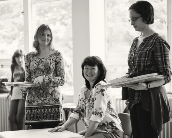 Three actresses rehearse