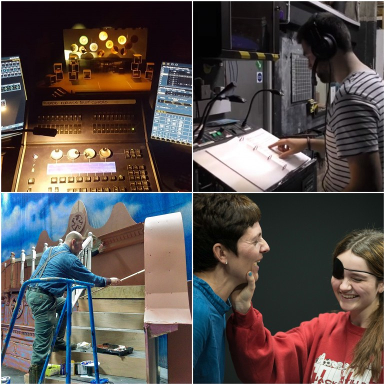 The lighting board, a stage manager, painting a set, two women rehearse