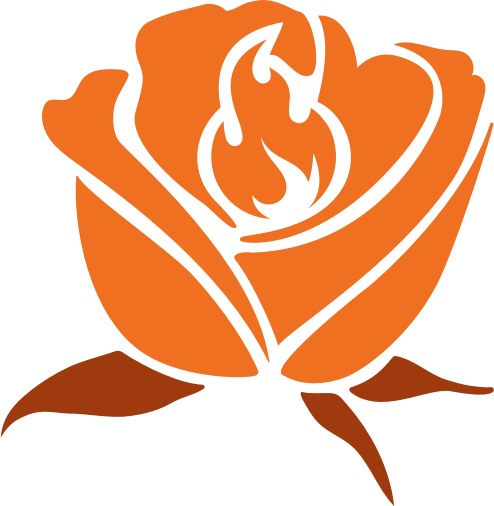 A rose with a flame depicted in the centre