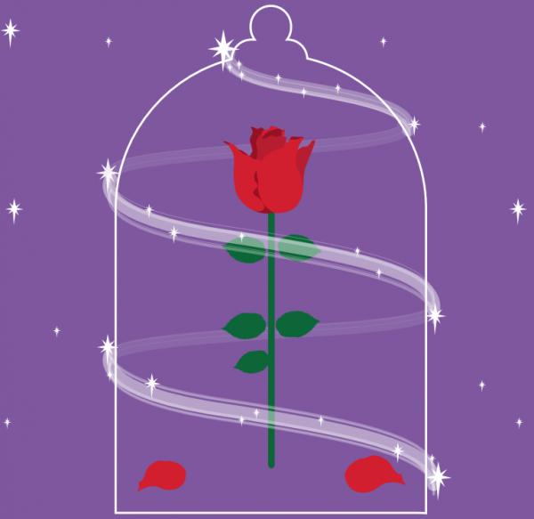 A rose in a glass dome