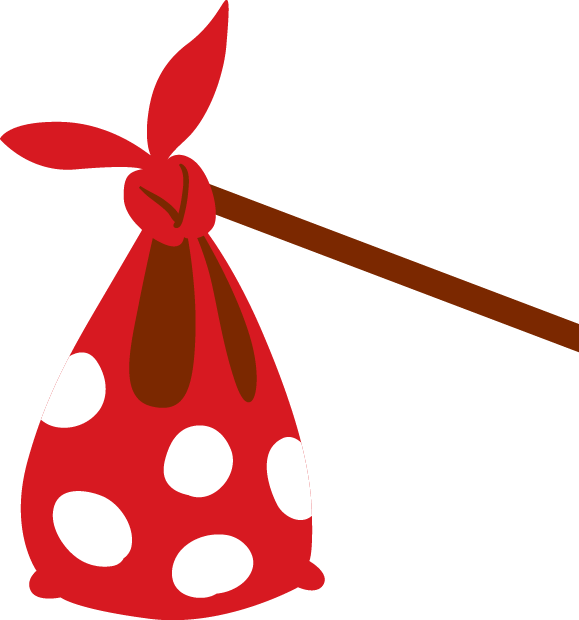 A spotty red knapsack on a wooden pole