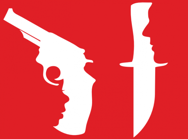 A gun and a knife whose handles resemble face silhouettes