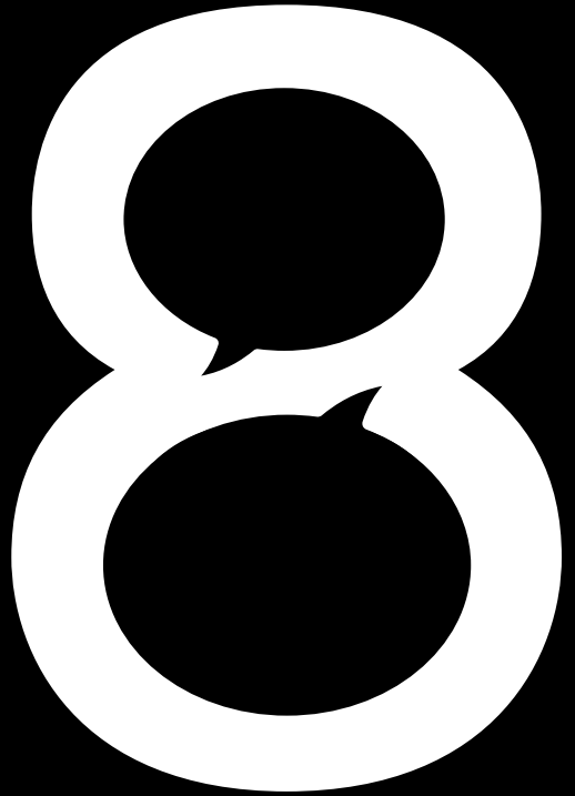 A number eight where the two inner circles resemble speech bubbles