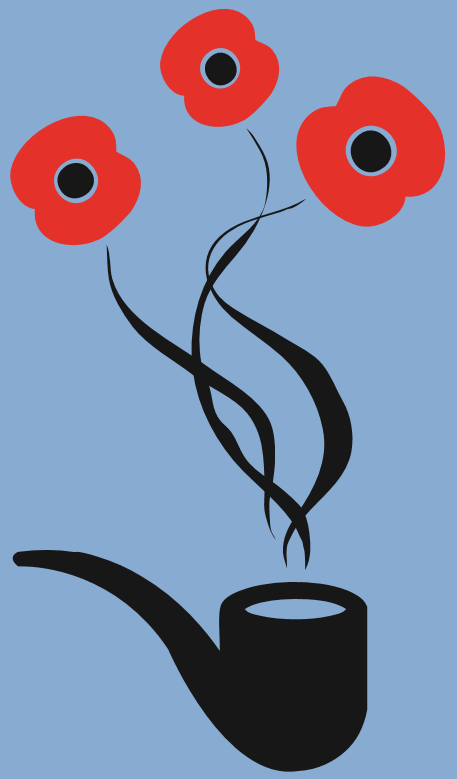 A smoking pipe with poppies rising from the smoke