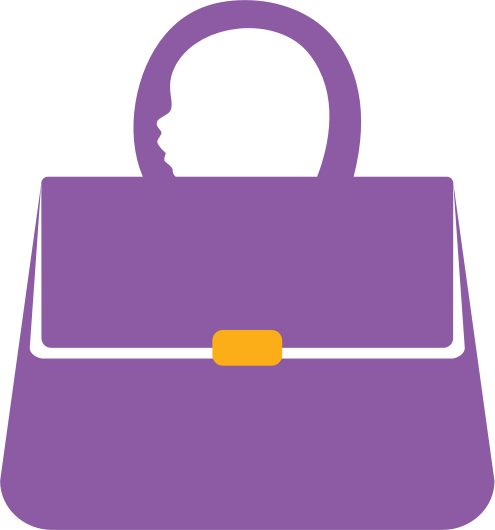 A handbag with the outline of a baby's head representing the handle