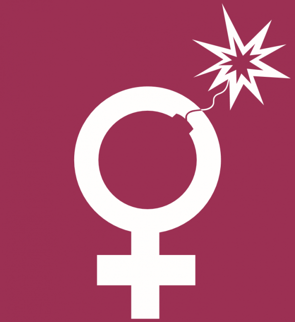 The female gender symbol where the circle now resembles a bomb