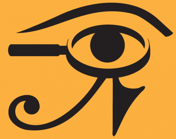 An Egyptian hieroglyphic which also resembles a magnifying glass